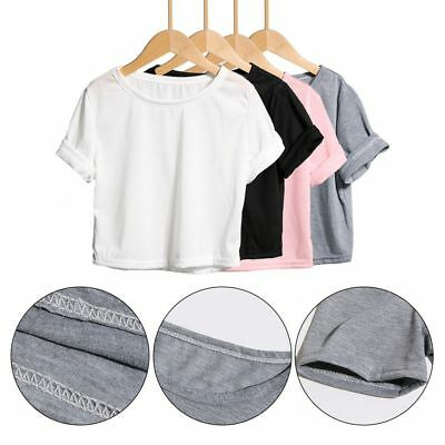 Women's Stylish Summer Short Sleeve Tee Casual Crop Top Solid Color T Shirt Vest