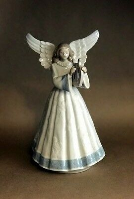 Lladro Angel Tree Topper Figurine #5830 Harp - MINT CONDITION COLLECTIBLE!