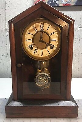 Antique F. Kroeber Eight Day Dictator Mantel Clock — runs and chimes.