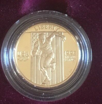 1992  US Mint Olympic Proof 3 Coin $5 Gold & $1 Silver Set With COA-Bucks