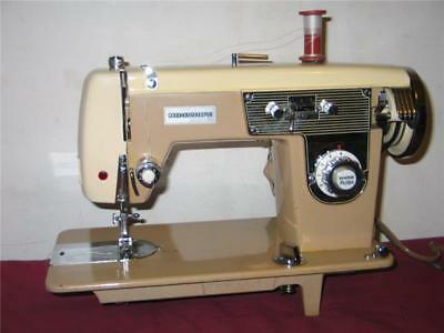 HEAVY DUTY WHITE SEWING MACHINE, model 300s Metal Gear, upholstery, & more