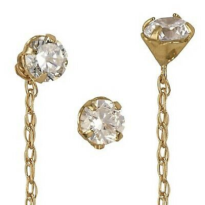 Genuine Solid 9ct 9k Yellow Gold Italian Thread Ladies Earrings With 3.5 mm CZ