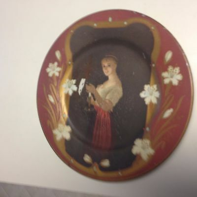 1905 Vienna Art Whiskey Serving Tray With Candlelit Maiden,Sweet,Artistic
