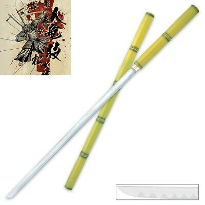 Battle Bamboo Katana Sword Walking Cane Full Tang Hidden Ninja Ronin Blade Ready