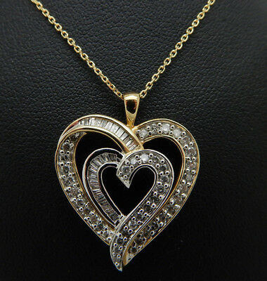10K Yellow Gold 0.75cttw H-SI Round & Baguette Diamond Double Heart Necklace