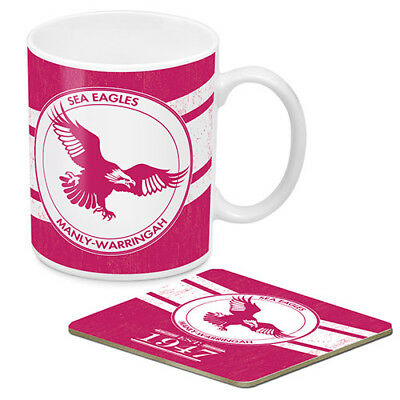 Manly Warringah Sea Eagles NRL Ceramic Coffee Mug & Cork Coaster HERITAGE Gift