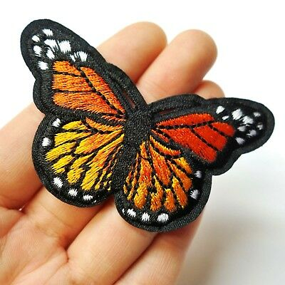 "Orange Monarch Butterfly Patch Iron-On/Sew-On Embroidered Applique, 3"" Large"