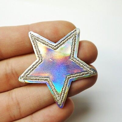 Holographic Silver Star, Iridescent Iron-On/Sew-On Embroidered Patch Applique