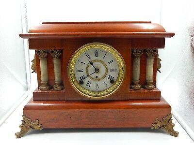 Antique Seth Thomas Adamantine Mantel Clock Wood Lions 4 column