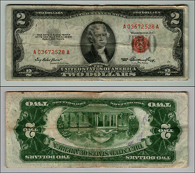 1953 $ 2 DOLLAR RED SEAL CIRCULATED United States Note LOT J438