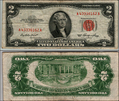 1953 $ 2 DOLLAR RED SEAL CIRCULATED United States Note LOT J434