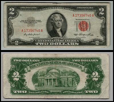 1953 $2 Dollar Bill Us Note Legal Tender Paper Money Currency Red Seal E486