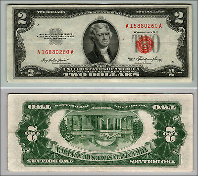 1953 $2 Dollar Bill Us Note Legal Tender Paper Money Currency Red Seal W346