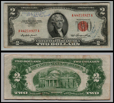 1953 $2 Dollar Bill  Us Note Legal Tender Paper Money  Red Seal E174