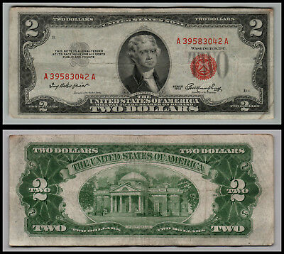 1953 $2 Dollar Bill Us Note Legal Tender Paper Money Currency Red Seal E451