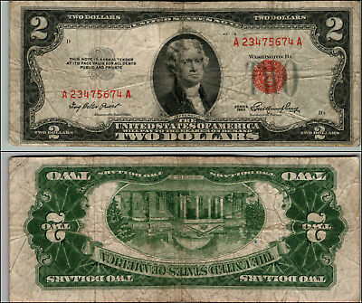 1953 $2 Dollar Bill  Us Note Legal Tender Paper Money Currency Red Seal P863