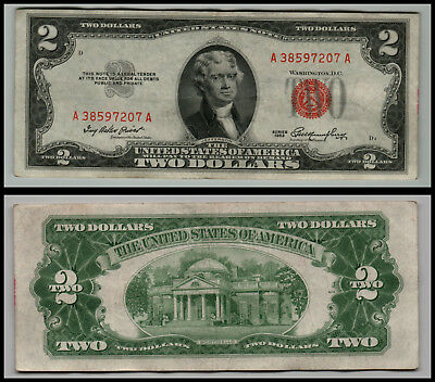 1953 $2 Dollar Bill Us Note Legal Tender Paper Money Currency Red Seal E456
