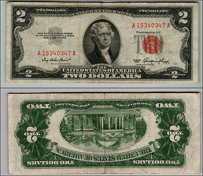 1953 $2 Dollar Bill Us Note Legal Tender Paper Money Currency Red Seal W348