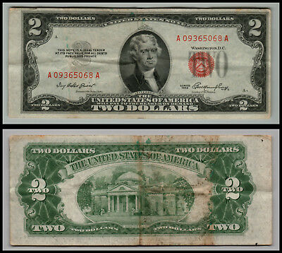 1953 $2 Dollar Bill Us Note Legal Tender Paper Money Currency Red Seal E491