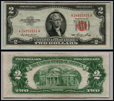 1953 $2 Dollar Bill Us Note Legal Tender Paper Money Currency Red Seal E453