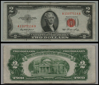 1953 $2 Dollar Bill Us Note Legal Tender Paper Money Currency Red Seal V528
