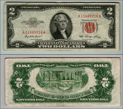 1953 $2 Dollar Bill Us Note Legal Tender Paper Money Currency Red Seal W352