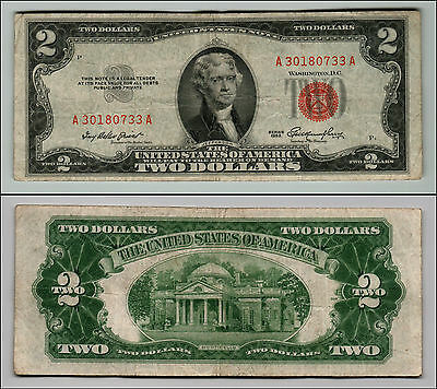 1953 $2 Dollar Bill Old Us Note Legal Tender Paper Money Currency Red Seal Q625