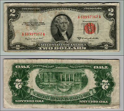 1953B $2 Dollar Bill  Us Note Legal Tender Paper Money Currency Red Seal P767