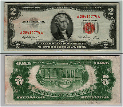 1953 $2 Dollar Bill Us Note Legal Tender Paper Money Currency Red Seal W795
