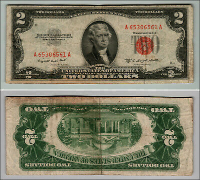 1953B $2 Dollar Bill  Us Note Legal Tender Paper Money Currency Red Seal P768