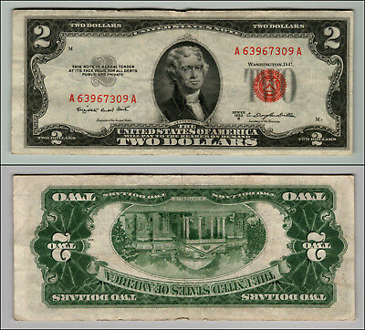 1953B $2 Dollar Bill Old Us Note Legal Tender Paper Money Currency Red Seal P611