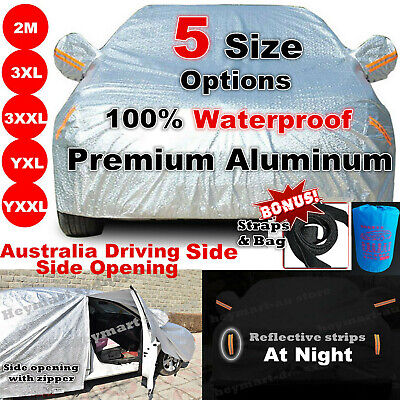 Aluminum Full Car Cover Outdoor WaterProof Rain SnowSun Dust Brid Protect 5 Size