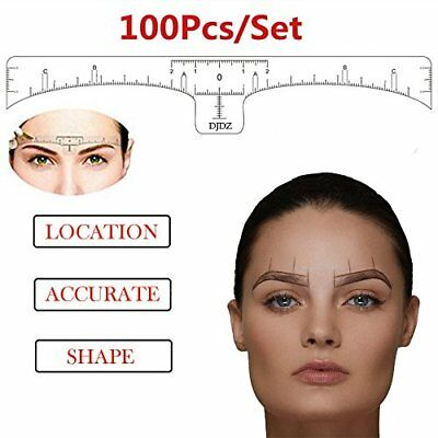 100PCS Disposable Microblading Makeup Eyebrow Shaping Ruler Tools Tattoo Stencil