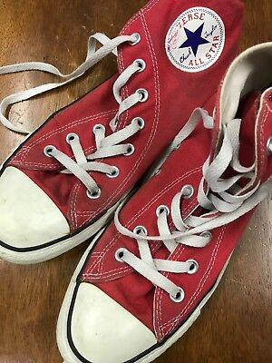 Red Converse High Tops Size 6 US 8