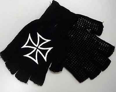 FINGERLESS GLOVES Iron Cross Design Biker Heavy Metal Winter Punk Goth
