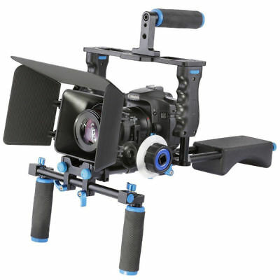 Aluminum Film Movie Kit System Rig with Matte Box Follow Focus for DSLR Cameras