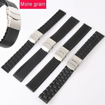 New Waterproof Silicone Rubber Men Watch Strap Band Deployment Buckle 20~24mm