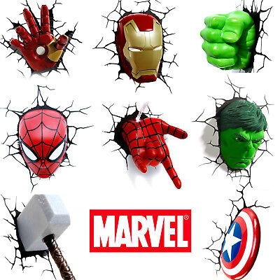 LED Night LIght - Hulk, Iron Man, Capatin America,Thor ,Spiderman 3D Wall Lamp