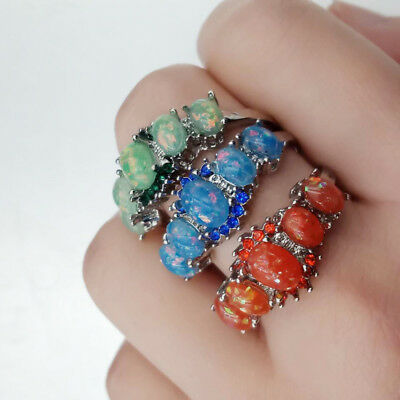 Nature Gemstone 3 Colors Fire Opal Rings Bride Wedding Jewelry CZ Size 6-10