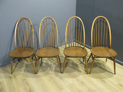 Set Of 4  Mid Century Vintage Retro Ercol Elm & Beech Golden Dawn Quacker Chairs
