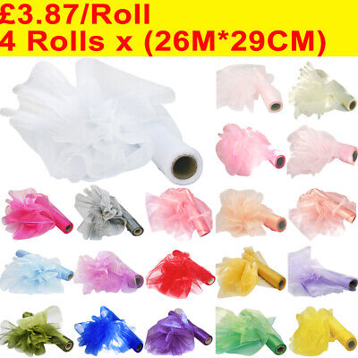 4 Rolls 26M*29CM/10M*70CM Organza Roll Wedding Chair Sash Bow Table Runner Party