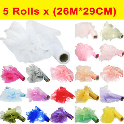 5 Packs 26M*29CM/10M*70CM Organza Roll Wedding Chair Sash Bow Table Runner Party