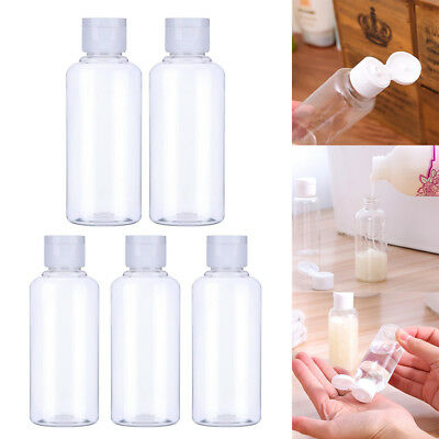 5x 100ml Plastic Clear Bottle Travel Lotion Liquid Shampoo Makeup Container