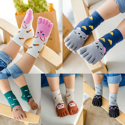 Boys Girls Five Fingers Sock Animal Kids Baby Hosiery Cotton Hot New Toe Socks