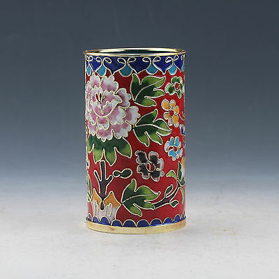 Delicate Chinese Cloisonne Handwork Flower Brush Pots