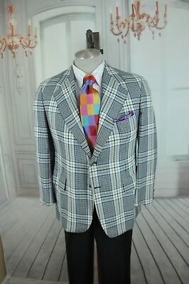 Vintage Hickey Freeman Uomo Blu & Bianco Plaid Lana Sport