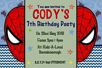 Spider man spiderman invitation personalised party invite birthday spider man spiderman invitation personalised party invite birthday x10 boy stopboris
