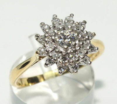 Antique 18ct Yellow Gold & Platinum Diamond Star-Burst Cluster Ring