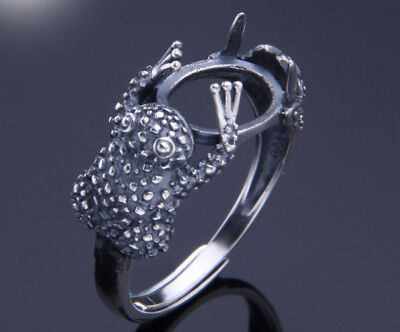 9*11mm 925 STERLING SILVER Semi Mount Blanks Pad ring Setting cute frog P1364