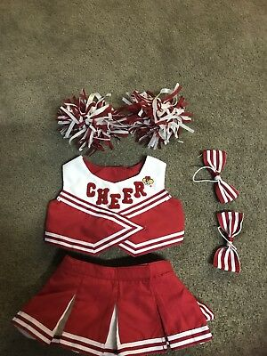 Build A Bear Cheerleader Outfit Uniform Red And White With Pom Pom's Bows